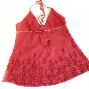 Guess- Boho Embroidered Hot pink Halter Blouse